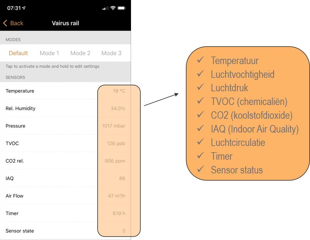 Sensoren in de Vairus app
